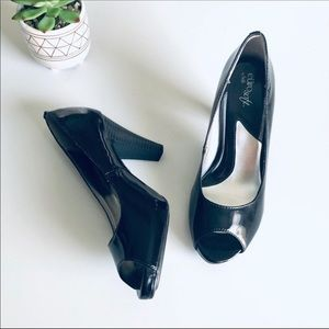 Eurosoft Black Patent Leather Peep Toe Career Heel
